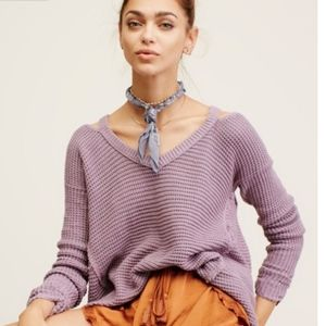 Free People Moonshine V-Neck Pullover Smokey Grape